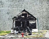 Red Hydrant, Detroit, Street Photographer, Blight, Fire, Wall Art, Photo Montage, FIne Art Print, City Life, Art Print