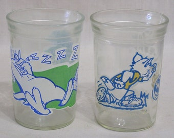 Lot of Two Welch's Looney Tunes Glasses 1990s Foghorn Leghorn Tom and Jerry TM Warner Brothers