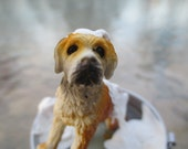 Dollhouse Miniatures - Dog in Galvanized Tub Taking a Bath - Comes with Bucket of Water