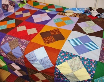 Vintage 1970s Cotton Blend Multi Colors Fabric Patchwork Quilt Top  Twin/Full 72x98
