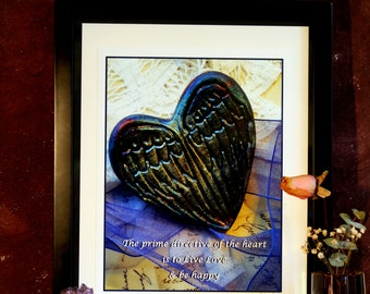 The Prime Directive Of The Heart Is To Live Love and Be Happy - Winged Heart - Original Creative All Occasion 11 x 14 Framed Photo Art Print