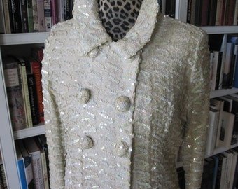 WHITE SEQUINED 1960S COAT With Large Buttons