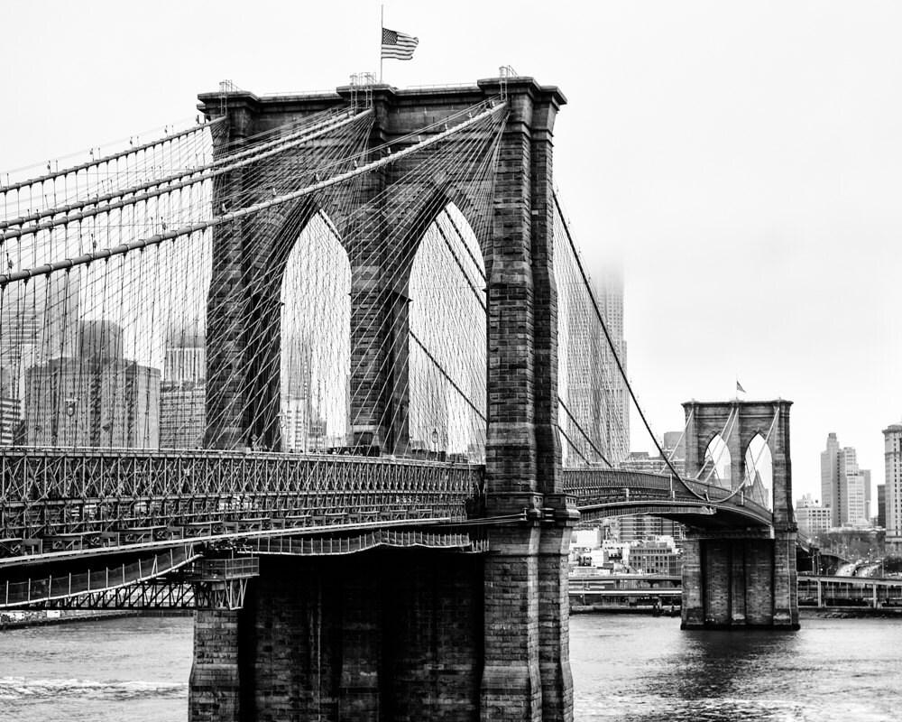 New York City, Brooklyn, Brooklyn Bridge Black and White ...  |Brooklyn Bridge Painting Black And White