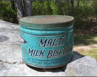 Vintage Pennant Malto Milk Biscuits Tin