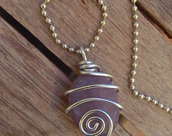 Wire wrapped purple stone pendant ne 111214 01 for Code postal charmes