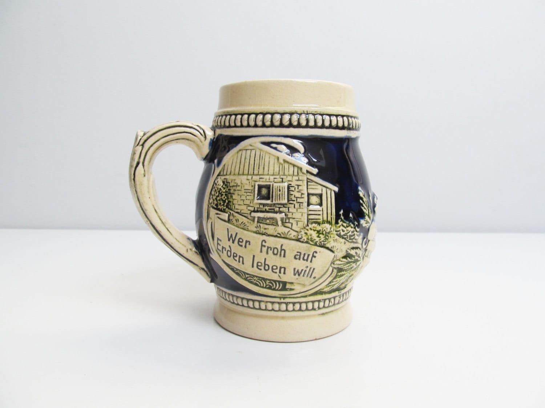 Vintage Ceramic German Beer Stein Beer Mug Cream Dark Blue