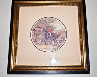 framed pair of equestrian hunters