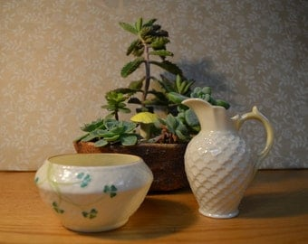 Belleek Sugar Bowl and Creamer Set   #137