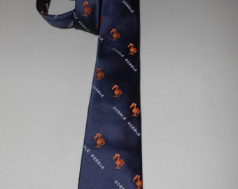 Mens Vintage Boyton Recycled Paper Products Gobble Gobble Turkey Tie Necktie Thanksgiving