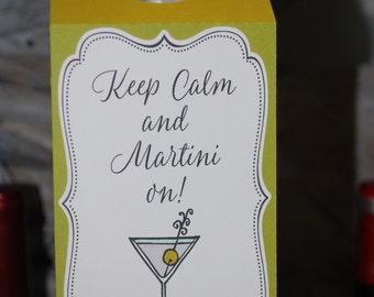 Keep Calm and Martini On - Vodka/Gin Bottle Tag