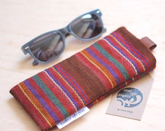 Upcycled striped sunglasses case / cotton sunglass case / striped fabric / perfect gift
