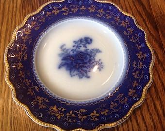 Flow Blue Roses Bread Plate Vintage Gorgeous