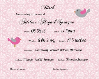 Personalized Birth 8x10 Certificate/Announcement -- Girl