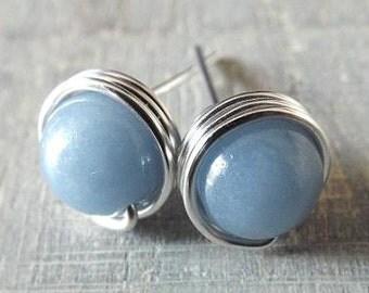 Angelite Earrings, Light Blue Earrings, Blue Stud Earrings, Wire Wrap Earrings, Something Blue, Silver Gemstone Studs, Sky Blue Earrings