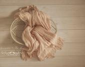 Soft Cotton Fringed Layer in Beige, Newborn Prop, Newborn Wrap, Baby Wrap, Photo Prop, Photography Prop, Beige Wrap, Pink Photo Prop