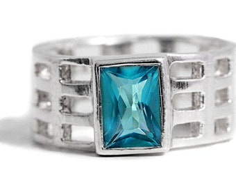 Ring Blue Glass 925 Silver