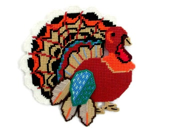 Vintage Thanksgiving, 1980's Turkey Wall Hanging, Needlework, Plastic Canvas Turkey, Vintage Turkey, Thanksgiving, Fall Decor, Decoration