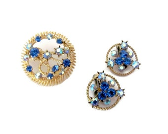 Vintage Austria Brooch, Earrings Set, 1960s Blue Shooting Star, Rhinestone Brooch, Pin, Clip On Earrings, 1960's Earrings, Brooch