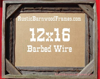 12x16 barbed wire rustic barn wood aged weathered reclaimed primitive photo picture frame 12 x 16 unfinished repurposed barnwood frames