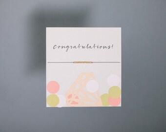 Friendship Bracelet - Congratulations! - Gold Friendship Bracelet on Silk - Grey