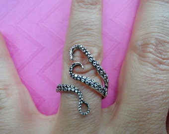 Octopus tentacle oxidized silver or rose gold ring