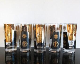 Set of 5 Cera Gold Coin Hollywood Regency Highball Glasses, Black and Gold Vintage Barware