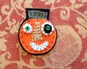 Folk Art Halloween Pumpkin Brooch