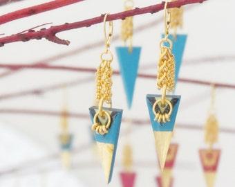 ARYEL - geometric graphic earrings, tribal earrings, triangle earrings, geometric jewelry, modern earrings,graphic jewelry,colorful earrings
