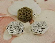 100 Hexagon Beads, 10mm Brass / Silver Tone Flower Beadwork Findings A4006