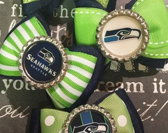 Seahawks Inspired Bottlecap Mini Bows