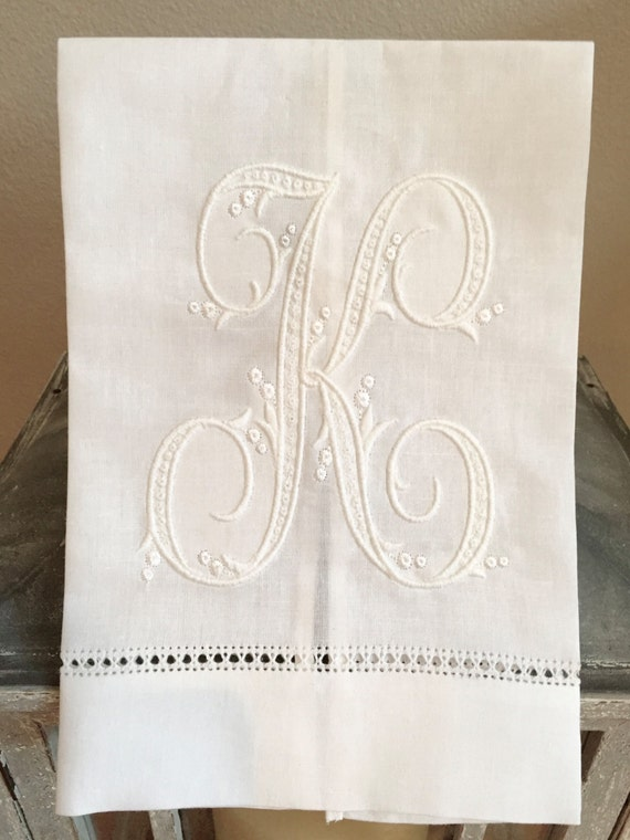Custom Monogrammed Linen Hand Towel with One Initial