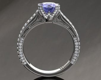 Tanzanite Engagement Ring Tanzanite Ring 14k or 18k White Gold Matching Wedding Band Available SW9TANZW
