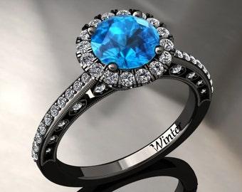 Blue Topaz Halo Engagement Ring Blue Topaz Ring 14k or 18k Black Gold W5BU2BK