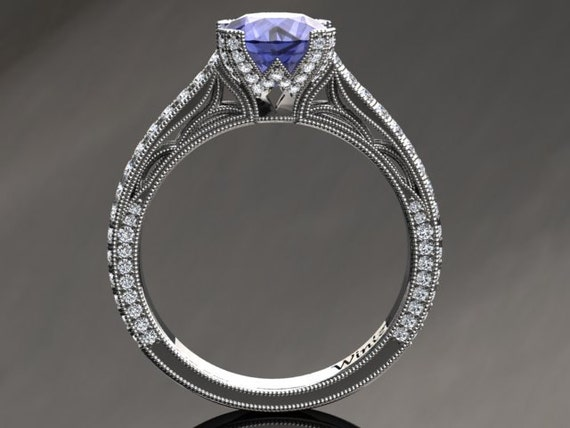 Tanzanite Engagement Ring Tanzanite Ring 14k or 18k White Gold