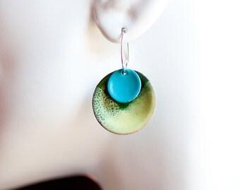 1 inch Copper Enamel Disc Earrings, Yellow Green Blue White, Vitreous Glass, Copper Enamel, Handmade Sterling Silver Ear Wires, Fresh