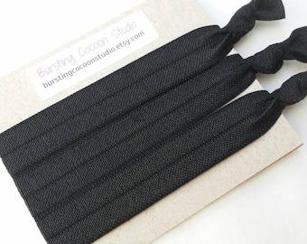 Black hair ties, set of 3 foldover elastic ponytail holders, bright color hairtie, foe ponytail holder, foldover elastic