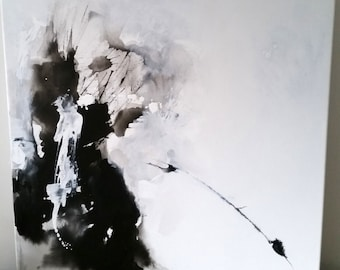 """Original Painting, Abstract Painting, Trish Callaghan, Black & White, 51 x 51cm, 20 x 20"""", Authentic Contemporary Painting, Square Format"""