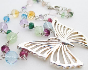 SALE - Sterling Silver Butterfly and Mixed Gem Necklace