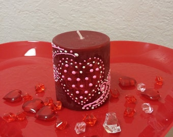 Valentine's day pillar candle hand painted dcandle pillar black cherry candle