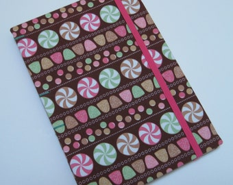Handmade Journal - Little Candies - Fabric, Textured - Lined Pages - Unique