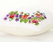Floral Tribal Pillow Covers, Hand made Cross-stitch cushion, Bohemian Decor, Boho Bedding, Pillow Cover 22x22 Pink Roses, Mexico home decor,