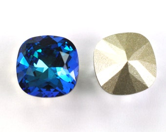 Swarovski 12mm Bermuda Blue Cushion Cut 4470 Crystal 1 Piece