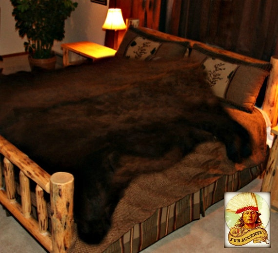 OOAK Faux Fur Bear Skin Bed Cover Area Rug / Animal By