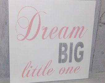 Dream Big Little One, Pink and Silver Nursery, Pink Silver Decor, Nursery Decor, Girls Nursery Art