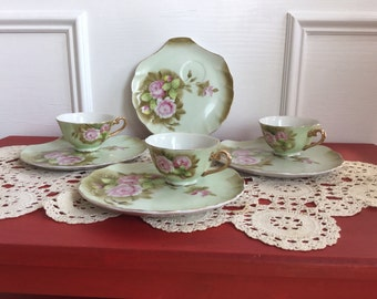 Lefton Green Heritage China Snack Set