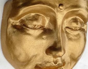 Tranquil Golden Buddha Face, a Zen Garden Sculpture, Cast Stone Outdoor Decor