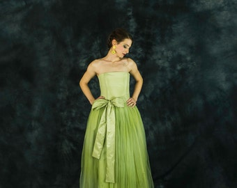 Lime green bridesmaid dress, lime green tulle dress, lime green prom dress, long tulle strapless dress, tulle bridesmaid dress