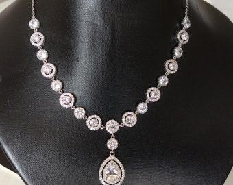 clear bridal jewelry bridal necklace wedding necklace wedding jewelry zirconia necklace