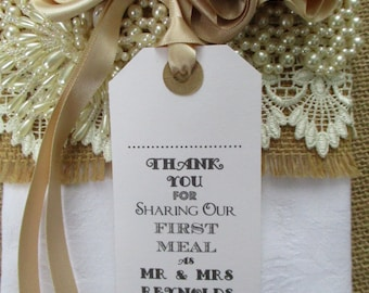 Thank You for Sharing Our First Meal Name Place Tags - Personalised Tags - - Napkin Ties - Wedding Table Decor - Wedding Favors