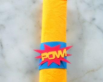 20 Superhero Napkin Wraps - Superhero Party Decorations - Superhero Party - Superhero Decorations